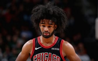 MILWAUKEE, WI - NOVEMBER 14: Coby White #0 of the Chicago Bulls looks on against the Milwaukee Bucks on November 14, 2019 at the Fiserv Forum Center in Milwaukee, Wisconsin. NOTE TO USER: User expressly acknowledges and agrees that, by downloading and or using this Photograph, user is consenting to the terms and conditions of the Getty Images License Agreement. Mandatory Copyright Notice: Copyright 2019 NBAE (Photo by Gary Dineen/NBAE via Getty Images).