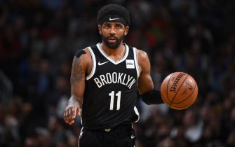 DENVER, CO - NOVEMBER 14: Kyrie Irving #11 of the Brooklyn Nets looks on against the Denver Nuggets on November 14, 2019 at the Pepsi Center in Denver, Colorado. NOTE TO USER: User expressly acknowledges and agrees that, by downloading and/or using this Photograph, user is consenting to the terms and conditions of the Getty Images License Agreement. Mandatory Copyright Notice: Copyright 2019 NBAE (Photo by Garrett Ellwood/NBAE via Getty Images)