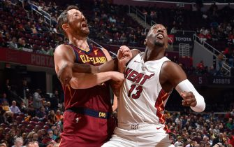 CLEVELAND, OH - NOVEMBER 14: Kevin Love #0 of the Cleveland Cavaliers and Bam Adebayo #13 of the Miami Heat fight for the rebound on November 14, 2019 at Quicken Loans Arena in Cleveland, Ohio. NOTE TO USER: User expressly acknowledges and agrees that, by downloading and/or using this Photograph, user is consenting to the terms and conditions of the Getty Images License Agreement. Mandatory Copyright Notice: Copyright 2019 NBAE (Photo by David Liam Kyle/NBAE via Getty Images)