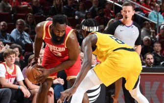 HOUSTON, TX - NOVEMBER 15:  James Harden #13 of the Houston Rockets handles the ball against the Indiana Pacers on November 15, 2019 at the Toyota Center in Houston, Texas. NOTE TO USER: User expressly acknowledges and agrees that, by downloading and or using this photograph, User is consenting to the terms and conditions of the Getty Images License Agreement. Mandatory Copyright Notice: Copyright 2019 NBAE (Photo by Cato Cataldo/NBAE via Getty Images)