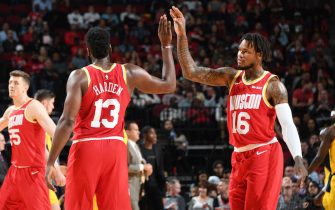 HOUSTON, TX - NOVEMBER 15: James Harden #13 and Ben McLemore #16 of the Houston Rockets hi-five during a game against the Indiana Pacers on November 15, 2019 at the Toyota Center in Houston, Texas. NOTE TO USER: User expressly acknowledges and agrees that, by downloading and or using this photograph, User is consenting to the terms and conditions of the Getty Images License Agreement. Mandatory Copyright Notice: Copyright 2019 NBAE (Photo by Cato Cataldo/NBAE via Getty Images)
