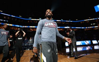 MEMPHIS, TN - NOVEMBER 15: Mike Conley #10 of the Utah Jazz smiles before the game against the Memphis Grizzlies on November 15, 2019 at FedExForum in Memphis, Tennessee. NOTE TO USER: User expressly acknowledges and agrees that, by downloading and or using this photograph, User is consenting to the terms and conditions of the Getty Images License Agreement. Mandatory Copyright Notice: Copyright 2019 NBAE (Photo by Joe Murphy/NBAE via Getty Images)
