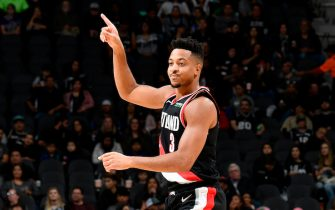 SAN ANTONIO, TX - NOVEMBER 16: CJ McCollum #3 of the Portland Trail Blazers reacts to a play against the San Antonio Spurs on November 16, 2019 at the AT&T Center in San Antonio, Texas. NOTE TO USER: User expressly acknowledges and agrees that, by downloading and or using this photograph, user is consenting to the terms and conditions of the Getty Images License Agreement. Mandatory Copyright Notice: Copyright 2019 NBAE (Photos by Logan Riely/NBAE via Getty Images)