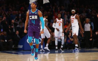 NEW YORK, NEW YORK - NOVEMBER 16: Devonte' Graham #4 of the Charlotte Hornets celebrates after hitting a three point basket with 2 seconds left in the fourth quarter to win the game against the New York Knicks at Madison Square Garden on November 16, 2019 in New York City. Charlotte Hornets defeated the Charlotte Hornets 103-102. NOTE TO USER: User expressly acknowledges and agrees that, by downloading and or using this photograph, User is consenting to the terms and conditions of the Getty Images License Agreement. Mandatory Copyright Notice: Copyright 2019 NBAE (Photo by Mike Stobe/Getty Images)