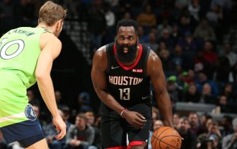 MINNEAPOLIS, MN -  NOVEMBER 16: James Harden #13 of the Houston Rockets handles the ball during a game against the Minnesota Timberwolves on November 16, 2019 at Target Center in Minneapolis, Minnesota. NOTE TO USER: User expressly acknowledges and agrees that, by downloading and or using this Photograph, user is consenting to the terms and conditions of the Getty Images License Agreement. Mandatory Copyright Notice: Copyright 2019 NBAE (Photo by David Sherman/NBAE via Getty Images)