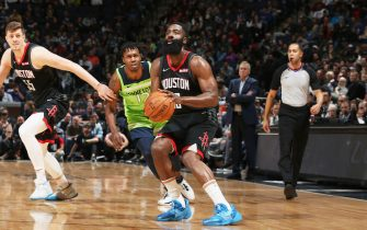 MINNEAPOLIS, MN -  NOVEMBER 16: James Harden #13 of the Houston Rockets shoots the ball during a game against the Minnesota Timberwolves on November 16, 2019 at Target Center in Minneapolis, Minnesota. NOTE TO USER: User expressly acknowledges and agrees that, by downloading and or using this Photograph, user is consenting to the terms and conditions of the Getty Images License Agreement. Mandatory Copyright Notice: Copyright 2019 NBAE (Photo by David Sherman/NBAE via Getty Images)