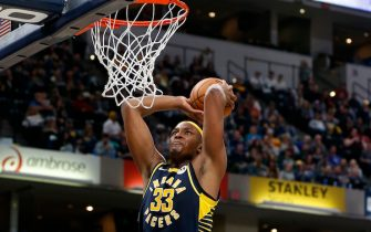 INDIANAPOLIS, INDIANA - NOVEMBER 16: Myles Turner #33 of the Indiana Pacers dunks the ball in the game against the Milwaukee Bucks during the fourth quarter at Bankers Life Fieldhouse on November 16, 2019 in Indianapolis, Indiana. NOTE TO USER: User expressly acknowledges and agrees that, by downloading and/or using this Photograph, user is consenting to the terms and conditions of the Getty Images License Agreement. (Photo by Justin Casterline/Getty Images)