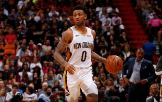 MIAMI, FL - NOVEMBER 16: Nickeil Alexander-Walker #0 of the New Orleans Pelicans handles the ball against the Miami Heat on November 16, 2019 at American Airlines Arena in Miami, Florida. NOTE TO USER: User expressly acknowledges and agrees that, by downloading and or using this Photograph, user is consenting to the terms and conditions of the Getty Images License Agreement. Mandatory Copyright Notice: Copyright 2019 NBAE (Photo by Issac Baldizon/NBAE via Getty Images)