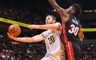 MIAMI, FL - NOVEMBER 16: Nicolo Melli #20 of the New Orleans Pelicans shoots the ball against the Miami Heat  on November 16, 2019 at the American Airlines Arena in Miami, Florida. NOTE TO USER: User expressly acknowledges and agrees that, by downloading and/or using this Photograph, user is consenting to the terms and conditions of the Getty Images License Agreement. Mandatory Copyright Notice: Copyright 2019 NBAE (Photo by Jesse D. Garrabrant/NBAE via Getty Images)