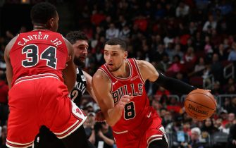 CHICAGO, IL - NOVEMBER 16: Zach LaVine #8 of the Chicago Bulls handles the ball against the Brooklyn Nets on November 16, 2019 at the United Center in Chicago, Illinois. NOTE TO USER: User expressly acknowledges and agrees that, by downloading and or using this photograph, user is consenting to the terms and conditions of the Getty Images License Agreement.  Mandatory Copyright Notice: Copyright 2019 NBAE (Photo by Gary Dineen/NBAE via Getty Images)
