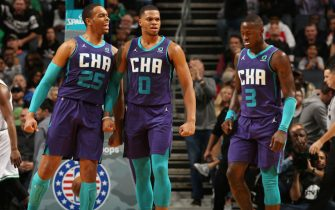 CHARLOTTE, NC - NOVEMBER 7:  PJ Washington #25 and Miles Bridges #0 of the Charlotte Hornets react during a game against the Boston Celtics on November 7, 2019 at Spectrum Center in Charlotte, North Carolina. NOTE TO USER: User expressly acknowledges and agrees that, by downloading and or using this photograph, User is consenting to the terms and conditions of the Getty Images License Agreement.  Mandatory Copyright Notice:  Copyright 2019 NBAE (Photo by Kent Smith/NBAE via Getty Images)