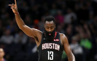 MINNEAPOLIS, MN -  NOVEMBER 16: James Harden #13 of the Houston Rockets walks down the court during a game against the Minnesota Timberwolves on November 16, 2019 at Target Center in Minneapolis, Minnesota. NOTE TO USER: User expressly acknowledges and agrees that, by downloading and or using this Photograph, user is consenting to the terms and conditions of the Getty Images License Agreement. Mandatory Copyright Notice: Copyright 2019 NBAE (Photo by Jordan Johnson/NBAE via Getty Images)