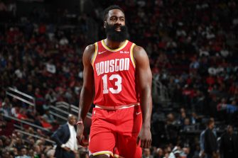HOUSTON, TX - NOVEMBER 15: James Harden #13 of the Houston Rockets looks on against the Indiana Pacers  on November 15, 2019 at the Toyota Center in Houston, Texas. NOTE TO USER: User expressly acknowledges and agrees that, by downloading and or using this photograph, User is consenting to the terms and conditions of the Getty Images License Agreement. Mandatory Copyright Notice: Copyright 2019 NBAE (Photo by Cato Cataldo/NBAE via Getty Images)