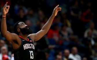 NEW ORLEANS, LOUISIANA - NOVEMBER 11: James Harden #13 of the Houston Rockets reacts to a play during a NBA game against the New Orleans Pelicans at the Smoothie King Center on November 11, 2019 in New Orleans, Louisiana. NOTE TO USER: User expressly acknowledges and agrees that, by downloading and or using this photograph, User is consenting to the terms and conditions of the Getty Images License Agreement. (Photo by Sean Gardner/Getty Images)