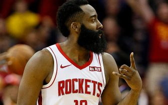 HOUSTON, TEXAS - NOVEMBER 13: James Harden #13 of the Houston Rockets after hitting a three point shot against the Los Angeles Clippers at Toyota Center on November 13, 2019 in Houston, Texas. NOTE TO USER: User expressly acknowledges and agrees that, by downloading and/or using this photograph, user is consenting to the terms and conditions of the Getty Images License Agreement.  (Photo by Bob Levey/Getty Images)