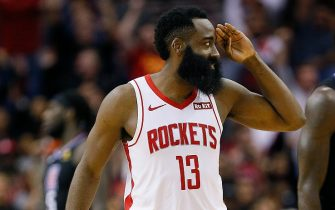 HOUSTON, TEXAS - NOVEMBER 13: James Harden #13 of the Houston Rockets salutes after hitting a three point shot during the fourth quarter against the Los Angeles Clippers at Toyota Center on November 13, 2019 in Houston, Texas. NOTE TO USER: User expressly acknowledges and agrees that, by downloading and/or using this photograph, user is consenting to the terms and conditions of the Getty Images License Agreement.  (Photo by Bob Levey/Getty Images)