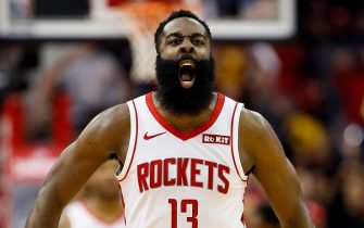 HOUSTON, TEXAS - NOVEMBER 13: James Harden #13 of the Houston Rockets reacts after hitting a three point shot against the Los Angeles Clippers during the fourth quarter at Toyota Center on November 13, 2019 in Houston, Texas. NOTE TO USER: User expressly acknowledges and agrees that, by downloading and/or using this photograph, user is consenting to the terms and conditions of the Getty Images License Agreement.  (Photo by Bob Levey/Getty Images)