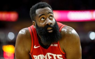 HOUSTON, TX - NOVEMBER 06:  James Harden #13 of the Houston Rockets reacts in the first half against the Golden State Warriors at Toyota Center on November 6, 2019 in Houston, Texas.    NOTE TO USER: User expressly acknowledges and agrees that, by downloading and or using this photograph, User is consenting to the terms and conditions of the Getty Images License Agreement.  (Photo by Tim Warner/Getty Images)