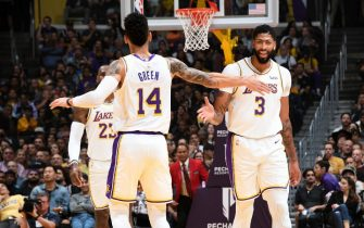 LOS ANGELES, CA - NOVEMBER 17: Danny Green #14 of the Los Angeles Lakers and Anthony Davis #3 of the Los Angeles Lakers high five each other during the game against the Atlanta Hawks on November 17, 2019 at STAPLES Center in Los Angeles, California. NOTE TO USER: User expressly acknowledges and agrees that, by downloading and/or using this Photograph, user is consenting to the terms and conditions of the Getty Images License Agreement. Mandatory Copyright Notice: Copyright 2019 NBAE (Photo by Andrew D. Bernstein/NBAE via Getty Images)