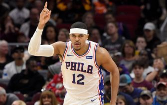 CLEVELAND, OHIO - NOVEMBER 17: Tobias Harris #12 of the Philadelphia 76ers celebrates after scoring against the Cleveland Cavaliers during the first half at Rocket Mortgage Fieldhouse on November 17, 2019 in Cleveland, Ohio. NOTE TO USER: User expressly acknowledges and agrees that, by downloading and/or using this photograph, user is consenting to the terms and conditions of the Getty Images License Agreement. (Photo by Jason Miller/Getty Images)