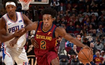 CLEVELAND, OH - NOVEMBER 17: Collin Sexton #2 of the Cleveland Cavaliers handles the ball against the Philadelphia 76ers on November 17, 2019 at Quicken Loans Arena in Cleveland, Ohio. NOTE TO USER: User expressly acknowledges and agrees that, by downloading and/or using this Photograph, user is consenting to the terms and conditions of the Getty Images License Agreement. Mandatory Copyright Notice: Copyright 2019 NBAE (Photo by David Liam Kyle/NBAE via Getty Images)