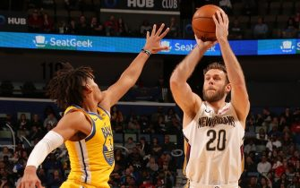 NEW ORLEANS, LA - NOVEMBER 17: Nicolo Melli #20 of the New Orleans Pelicans shoots the ball against the Golden State Warriors on November 17, 2019 at the Smoothie King Center in New Orleans, Louisiana. NOTE TO USER: User expressly acknowledges and agrees that, by downloading and or using this Photograph, user is consenting to the terms and conditions of the Getty Images License Agreement. Mandatory Copyright Notice: Copyright 2019 NBAE (Photo by Layne Murdoch Jr./NBAE via Getty Images)