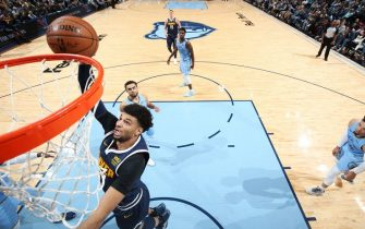 MEMPHIS, TN - NOVEMBER 17: Jamal Murray #27 of the Denver Nuggets drives to the basket during a game against the Memphis Grizzlies on November 17, 2019 at FedExForum in Memphis, Tennessee. NOTE TO USER: User expressly acknowledges and agrees that, by downloading and or using this photograph, User is consenting to the terms and conditions of the Getty Images License Agreement. Mandatory Copyright Notice: Copyright 2019 NBAE (Photo by Joe Murphy/NBAE via Getty Images)