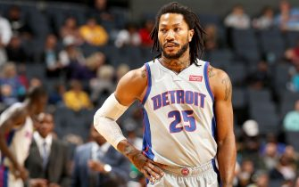 CHARLOTTE, NC - NOVEMBER 15: Derrick Rose #25 of the Detroit Pistons looks on during a game against the Charlotte Hornets on November 15, 2019 at Spectrum Center in Charlotte, North Carolina. NOTE TO USER: User expressly acknowledges and agrees that, by downloading and or using this photograph, User is consenting to the terms and conditions of the Getty Images License Agreement.  Mandatory Copyright Notice:  Copyright 2019 NBAE (Photo by Kent Smith/NBAE via Getty Images)