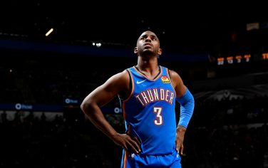SAN ANTONIO, TX - NOVEMBER 7: Chris Paul #3 of the Oklahoma City Thunder looks on against the San Antonio Spurs on November 7, 2019 at the AT&T Center in San Antonio, Texas. NOTE TO USER: User expressly acknowledges and agrees that, by downloading and or using this photograph, user is consenting to the terms and conditions of the Getty Images License Agreement. Mandatory Copyright Notice: Copyright 2019 NBAE (Photos by Logan Riely/NBAE via Getty Images)