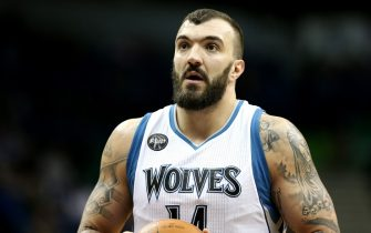 MINNEAPOLIS, MN - JANUARY 17: Nikola Pekovic #14 of the Minnesota Timberwolves shoots a free throw during the game against the Phoenix Suns on January 17, 2016 at Target Center in Minneapolis, Minnesota. NOTE TO USER: User expressly acknowledges and agrees that, by downloading and or using this Photograph, user is consenting to the terms and conditions of the Getty Images License Agreement. Mandatory Copyright Notice: Copyright 2016 NBAE (Photo by Jordan Johnson/NBAE via Getty Images)