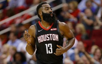 HOUSTON, TEXAS - NOVEMBER 18: James Harden #13 of the Houston Rockets reacts after making a three point shot against the Portland Trail Blazers during the second quarter at Toyota Center on November 18, 2019 in Houston, Texas. NOTE TO USER: User expressly acknowledges and agrees that, by downloading and/or using this photograph, user is consenting to the terms and conditions of the Getty Images License Agreement.  (Photo by Bob Levey/Getty Images)