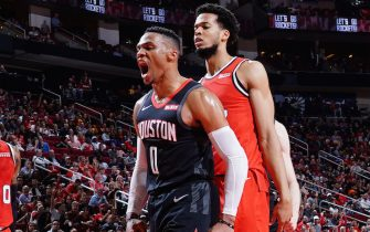 HOUSTON, TX - NOVEMBER 18: Russell Westbrook #0 of the Houston Rockets reacts to a play during the game against the Portland Trail Blazers on November 18, 2019 at the Toyota Center in Houston, Texas. NOTE TO USER: User expressly acknowledges and agrees that, by downloading and or using this photograph, User is consenting to the terms and conditions of the Getty Images License Agreement. Mandatory Copyright Notice: Copyright 2019 NBAE (Photo by Cato Cataldo/NBAE via Getty Images)