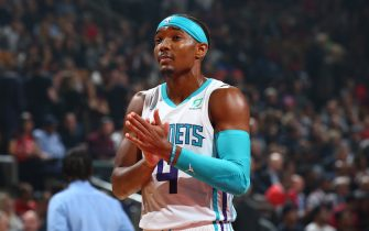 TORONTO, CANADA - NOVEMBER 18: Devonte' Graham #4 of the Charlotte Hornets looks on during the game against the Toronto Raptors on November 18, 2019 at the Scotiabank Arena in Toronto, Ontario, Canada.  NOTE TO USER: User expressly acknowledges and agrees that, by downloading and or using this Photograph, user is consenting to the terms and conditions of the Getty Images License Agreement.  Mandatory Copyright Notice: Copyright 2019 NBAE (Photo by Vaughan Ridley/NBAE via Getty Images)