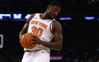 NEW YORK, NEW YORK - NOVEMBER 16:  Julius Randle #30 of the New York Knicks in action against the Charlotte Hornets at Madison Square Garden on November 16, 2019 in New York City. Charlotte Hornets defeated the New York Knicks 103-102. NOTE TO USER: User expressly acknowledges and agrees that, by downloading and or using this photograph, User is consenting to the terms and conditions of the Getty Images License Agreement. Mandatory Copyright Notice: Copyright 2019 NBAE (Photo by Mike Stobe/Getty Images)