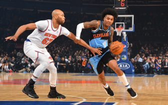 NEW YORK, NY - NOVEMBER 18: Kevin Porter Jr. #4 of the Cleveland Cavaliers handles the ball against the New York Knicks on November 18, 2019 at Madison Square Garden in New York City, New York.  NOTE TO USER: User expressly acknowledges and agrees that, by downloading and or using this photograph, User is consenting to the terms and conditions of the Getty Images License Agreement. Mandatory Copyright Notice: Copyright 2019 NBAE  (Photo by Jesse D. Garrabrant/NBAE via Getty Images)