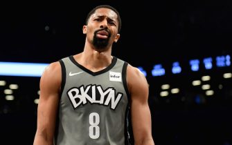 NEW YORK, NEW YORK - NOVEMBER 18: Spencer Dinwiddie #8 of the Brooklyn Nets reacts during the first half against the Indiana Pacers at Barclays Center on November 18, 2019 in the Brooklyn borough of New York City. NOTE TO USER: User expressly acknowledges and agrees that, by downloading and or using this Photograph, user is consenting to the terms and conditions of the Getty Images License Agreement. (Photo by Emilee Chinn/Getty Images)