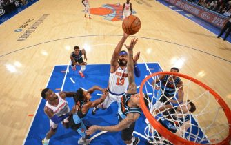 NEW YORK, NY - NOVEMBER 18: Marcus Morris Sr. #13 of the New York Knicks shoots the ball against the Cleveland Cavaliers on November 18, 2019 at Madison Square Garden in New York City, New York.  NOTE TO USER: User expressly acknowledges and agrees that, by downloading and or using this photograph, User is consenting to the terms and conditions of the Getty Images License Agreement. Mandatory Copyright Notice: Copyright 2019 NBAE  (Photo by Jesse D. Garrabrant/NBAE via Getty Images)