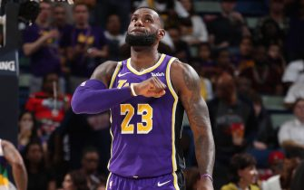 NEW ORLEANS, LA - FEBRUARY 23: LeBron James #23 of the Los Angeles Lakers looks on; against the New Orleans Pelicans on February 23, 2019 at the Smoothie King Center in New Orleans, Louisiana. NOTE TO USER: User expressly acknowledges and agrees that, by downloading and or using this Photograph, user is consenting to the terms and conditions of the Getty Images License Agreement. Mandatory Copyright Notice: Copyright 2019 NBAE (Photo by Nathaniel S. Butler/NBAE via Getty Images)
