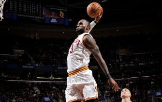 CLEVELAND, OH - APRIL 4: LeBron James #23 of the Cleveland Cavaliers dunks against the Orlando Magic during the game on April 4, 2017 at Quicken Loans Arena in Cleveland, Ohio. NOTE TO USER: User expressly acknowledges and agrees that, by downloading and/or using this Photograph, user is consenting to the terms and conditions of the Getty Images License Agreement. Mandatory Copyright Notice: Copyright 2017 NBAE  (Photo by David Liam Kyle/NBAE via Getty Images)