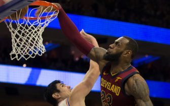 PHILADELPHIA, PA - APRIL 6: LeBron James #23 of the Cleveland Cavaliers dunks the ball over Ersan Ilyasova #23 of the Philadelphia 76ers in the fourth quarter at the Wells Fargo Center on April 6, 2018 in Philadelphia, Pennsylvania. The 76ers defeated the Cavaliers 132-130. NOTE TO USER: User expressly acknowledges and agrees that, by downloading and or using this photograph, User is consenting to the terms and conditions of the Getty Images License Agreement. (Photo by Mitchell Leff/Getty Images)