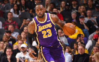 SAN ANTONIO, TX - NOVEMBER 3: LeBron James #23 of the Los Angeles Lakers handles the ball against the San Antonio Spurs on November 3, 2019 at the Toyota Center in San Antonio, Texas. NOTE TO USER: User expressly acknowledges and agrees that, by downloading and or using this photograph, User is consenting to the terms and conditions of the Getty Images License Agreement. Mandatory Copyright Notice: Copyright 2019 NBAE (Photo by Bill Baptist/NBAE via Getty Images)