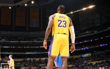 LOS ANGELES, CA - NOVEMBER 19: LeBron James #23 of the Los Angeles Lakers looks on during a game against the Oklahoma City Thunder on November 19, 2019 at STAPLES Center in Los Angeles, California. NOTE TO USER: User expressly acknowledges and agrees that, by downloading and/or using this Photograph, user is consenting to the terms and conditions of the Getty Images License Agreement. Mandatory Copyright Notice: Copyright 2019 NBAE (Photo by Andrew D. Bernstein/NBAE via Getty Images)