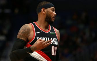 NEW ORLEANS, LOUISIANA - NOVEMBER 19:  Carmelo Anthony #00 of the Portland Trail Blazers reacts after scoring on a three-point basket during a NBA game against the New Orleans Pelicans at the Smoothie King Center on November 19, 2019 in New Orleans, Louisiana. NOTE TO USER: User expressly acknowledges and agrees that, by downloading and/or using this photograph, user is consenting to the terms and conditions of the Getty Images License Agreement.  (Photo by Sean Gardner/Getty Images)
