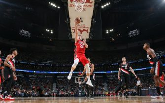 NEW ORLEANS, LA - NOVEMBER 19: Nicolo Melli #20 of the New Orleans Pelicans shoots the ball against the Portland Trail Blazers on November 19, 2019 at Smoothie King Center in New Orleans, Louisiana. NOTE TO USER: User expressly acknowledges and agrees that, by downloading and/or using this photograph, User is consenting to the terms and conditions of the Getty Images License Agreement. Mandatory Copyright Notice: Copyright 2019 NBAE (Photo by Layne Murdoch Jr./NBAE via Getty Images)