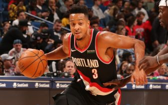 NEW ORLEANS, LA - NOVEMBER 19: CJ McCollum #3 of the Portland Trail Blazers handles the ball against the New Orleans Pelicans on November 19, 2019 at Smoothie King Center in New Orleans, Louisiana. NOTE TO USER: User expressly acknowledges and agrees that, by downloading and/or using this photograph, User is consenting to the terms and conditions of the Getty Images License Agreement. Mandatory Copyright Notice: Copyright 2019 NBAE (Photo by Layne Murdoch Jr./NBAE via Getty Images)