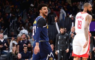 DENVER, CO - NOVEMBER 20: Jamal Murray #27 of the Denver Nuggets reacts during a game against the Houston Rockets on November 20, 2019 at the Pepsi Center in Denver, Colorado. NOTE TO USER: User expressly acknowledges and agrees that, by downloading and/or using this Photograph, user is consenting to the terms and conditions of the Getty Images License Agreement. Mandatory Copyright Notice: Copyright 2019 NBAE (Photo by Bart Young/NBAE via Getty Images)