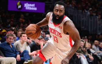 DENVER, CO - NOVEMBER 20: James Harden #13 of the Houston Rockets handles the ball against the Denver Nuggets on November 20, 2019 at the Pepsi Center in Denver, Colorado. NOTE TO USER: User expressly acknowledges and agrees that, by downloading and/or using this Photograph, user is consenting to the terms and conditions of the Getty Images License Agreement. Mandatory Copyright Notice: Copyright 2019 NBAE (Photo by Bart Young/NBAE via Getty Images)