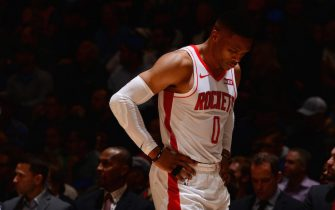 DENVER, CO - NOVEMBER 20: Russell Westbrook #0 of the Houston Rockets looks on during a game against the Denver Nuggets on November 20, 2019 at the Pepsi Center in Denver, Colorado. NOTE TO USER: User expressly acknowledges and agrees that, by downloading and/or using this Photograph, user is consenting to the terms and conditions of the Getty Images License Agreement. Mandatory Copyright Notice: Copyright 2019 NBAE (Photo by Bart Young/NBAE via Getty Images)
