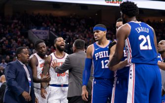 PHILADELPHIA, PA - NOVEMBER 20: Marcus Morris Sr. #13 of the New York Knicks yells at Joel Embiid #21 of the Philadelphia 76ers after a foul in the second quarter at the Wells Fargo Center on November 20, 2019 in Philadelphia, Pennsylvania. NOTE TO USER: User expressly acknowledges and agrees that, by downloading and/or using this photograph, user is consenting to the terms and conditions of the Getty Images License Agreement. (Photo by Mitchell Leff/Getty Images)