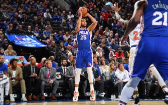 PHILADELPHIA, PA - NOVEMBER 20: Ben Simmons #25 of the Philadelphia 76ers shoots a three-pointer against the New York Knicks on November 20, 2019 at the Wells Fargo Center in Philadelphia, Pennsylvania NOTE TO USER: User expressly acknowledges and agrees that, by downloading and/or using this Photograph, user is consenting to the terms and conditions of the Getty Images License Agreement. Mandatory Copyright Notice: Copyright 2019 NBAE (Photo by Jesse D. Garrabrant/NBAE via Getty Images)